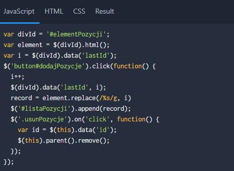 [JS/jQuery] Klonowanie kodu i powielanie wierszy dla warstw itabel